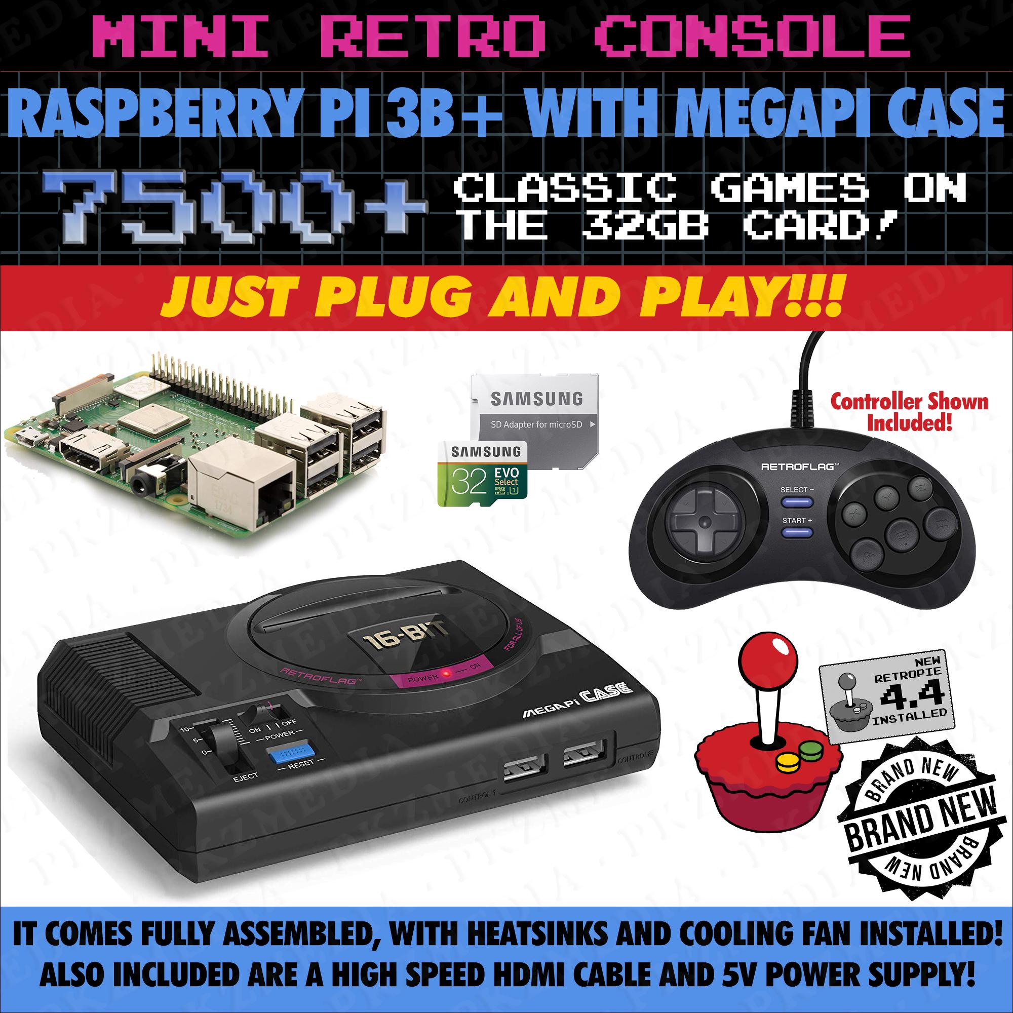Mega Drive / Genesis Style Retropie Gaming Console Raspberry Pi 3B+ W/ 7,500 Games Preloaded