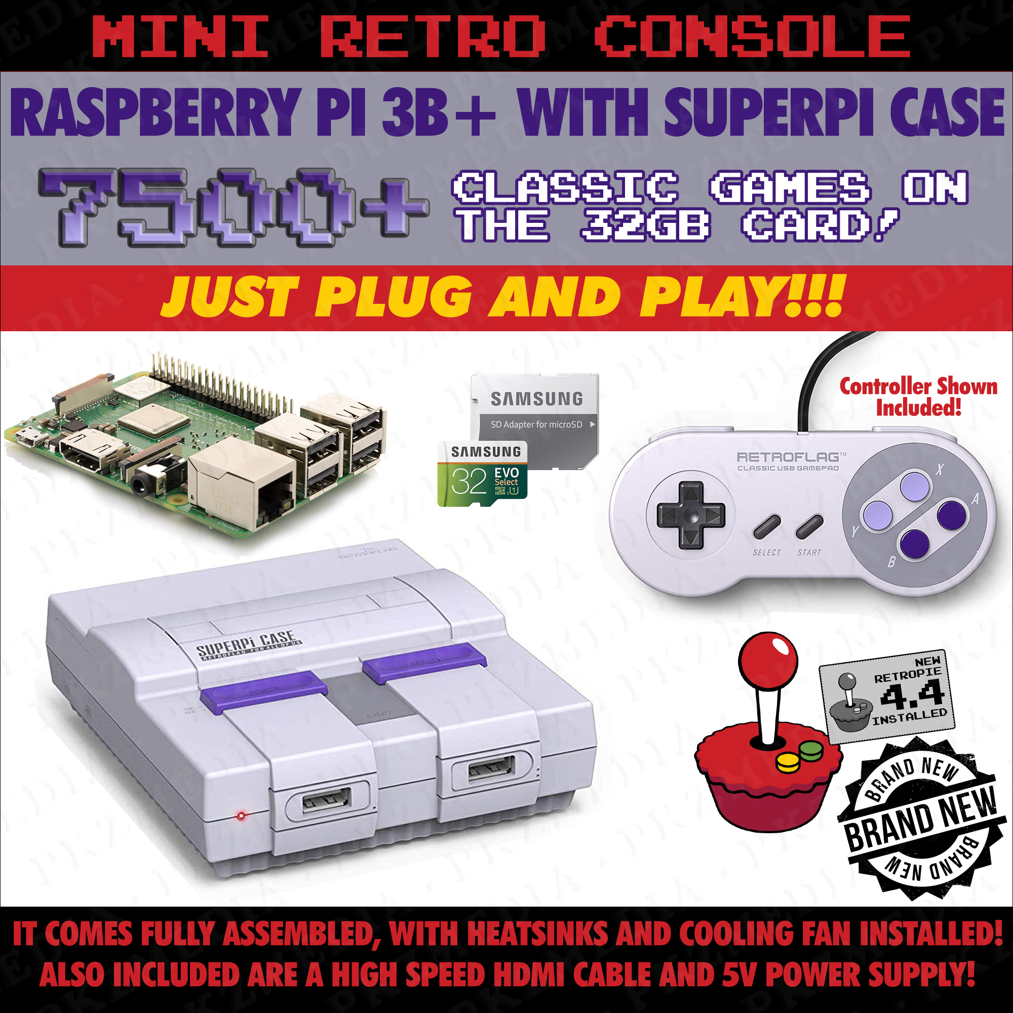 SuperNES/SNES Style Retropie Gaming Console Raspberry Pi 3B+ W/ 7,500 Games Preloaded