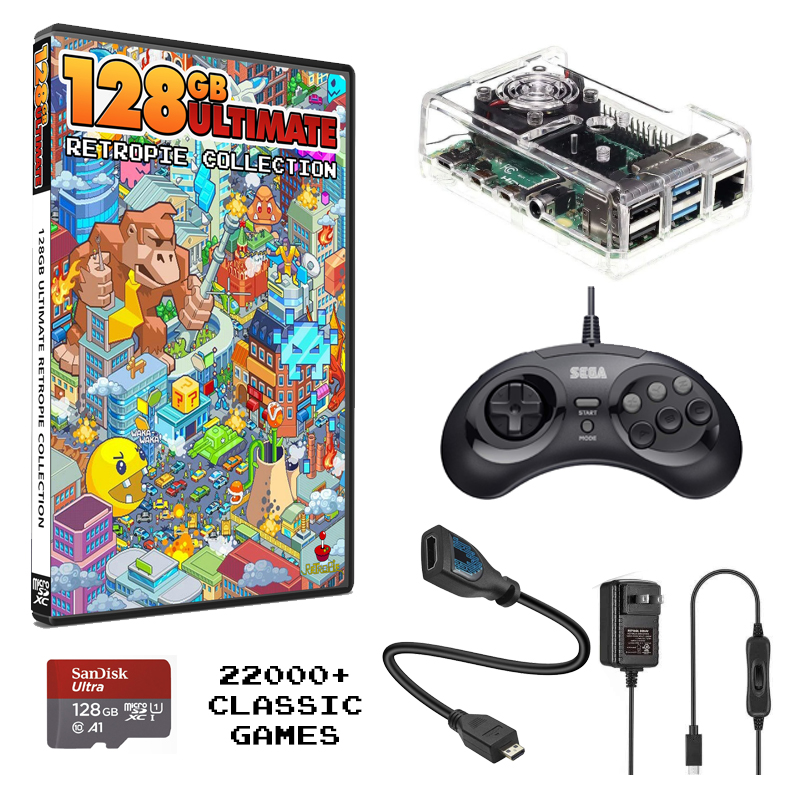 Raspberry Pi 4 Mini Gaming Console Bundled With The Ultimate 128 Retropie Collection – 22,000+ Games!