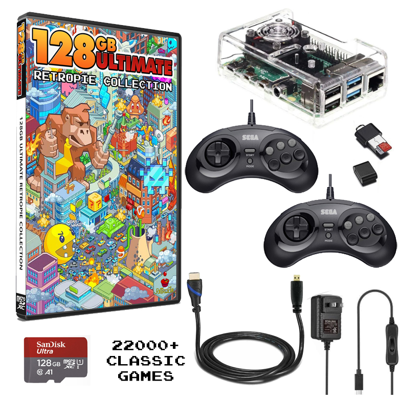 Raspberry Pi 4 Mini Gaming Console Bundled With The Ultimate 128 Retropie Collection and 2 Controllers – 22,000+ Games!