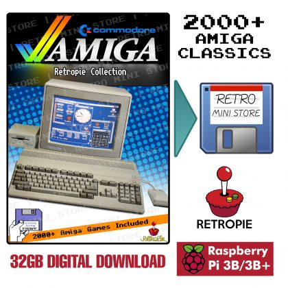 Digital Download – Commodore Amiga Retropie Collection 32GB microSD – 2000+ Games Preloaded for Raspberry Pi 3B/3B+