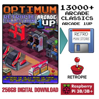 Digital Download – Arcade 1UP Optimum 256GB Retropie microSD – 13,000+ Selected Games Preloaded for Raspberry Pi 3B/3B+