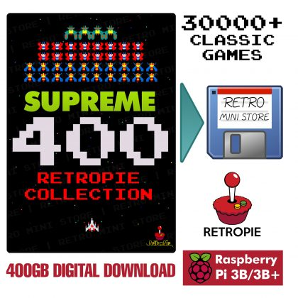 Digital Download – Supreme 400GB Retropie microSD Card – 30,000+ Preloaded Games for Raspberry Pi 3B/3B+