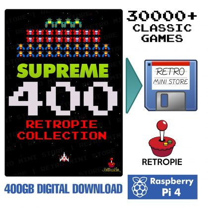 Digital Download – Supreme 400GB Retropie microSD Card – 30,000+ Preloaded Games for Raspberry Pi 4