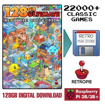 Digital Download – Ultimate 128GB Retropie microSD – 22,000+ Games 50+ Systems Preloaded Raspberry Pi 3B/3B+
