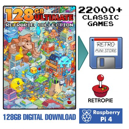 Digital Download – Ultimate 128GB Retropie microSD – 22,000+ Games 50+ Systems Preloaded Raspberry Pi 4