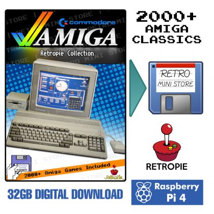 Digital Download – Commodore Amiga Retropie Collection 32GB microSD – 2000+ Games Preloaded for Raspberry Pi 4 & Pi 400