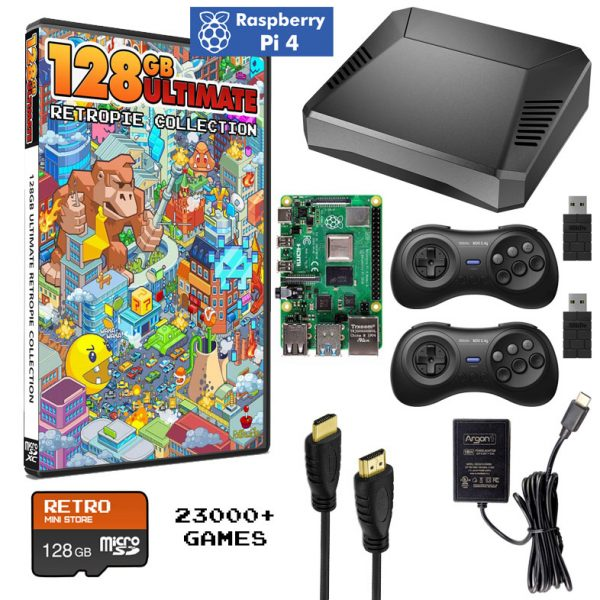 Deluxe Raspberry Pi 4 System with Wireless Controllers and Ultimate Retropie Collection