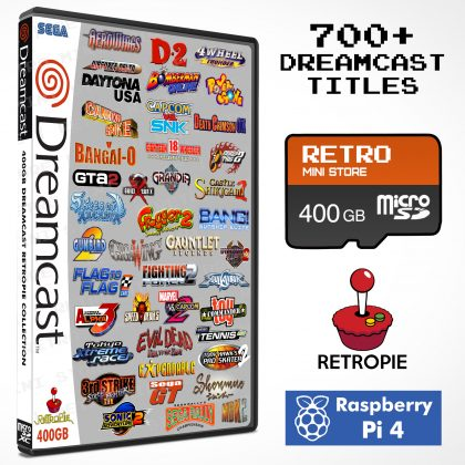 Dreamcast 400GB Retropie microSD Collection – 700+ Games – Preloaded Raspberry Pi 4